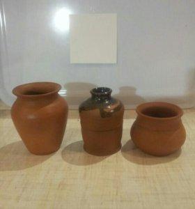 Маленькие вазочки из глины