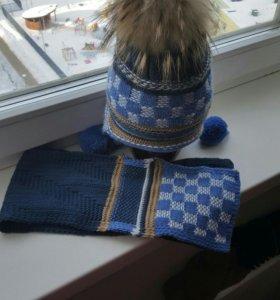 Новая шапка с натуральным помпоном и шарф