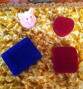 Коробочки бархатные для украшений (сердечко,слоник