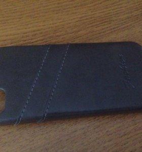 Чехол на iPhone 5/5S/SE чёрный под кожу