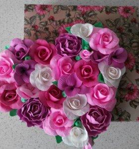 Подарок цветочное сердце+свечка в подарок)