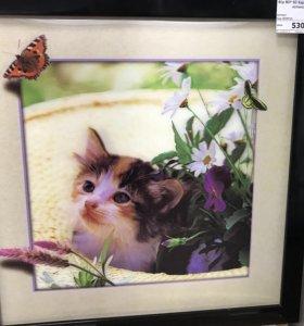 """5D объёмное изображение в рамке 40*40 """"Котёнок"""""""