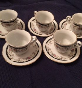 Кофейный набор 6шт чашек и тарелок 5