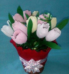Корзиночка с тюльпанами.