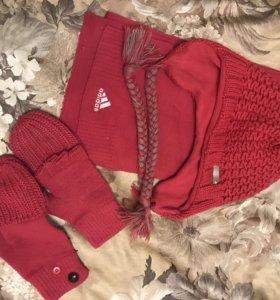 Комплект шапка, варежки-перчатки, шарф адидас