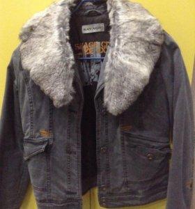 Джинсовая куртка с натуральным мехом, утепленная