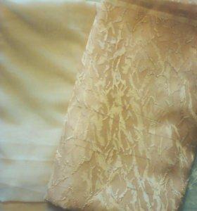 Готовый набор штор органза и шелк цвет персик