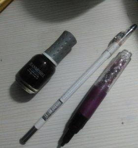 Белый карандаш, лак для ногтей,  для узоров