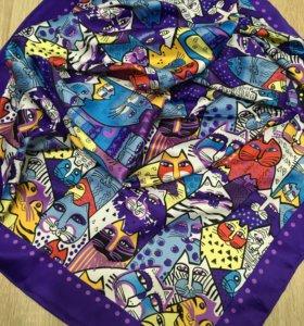 Новый сиреневый платок шёлк коты