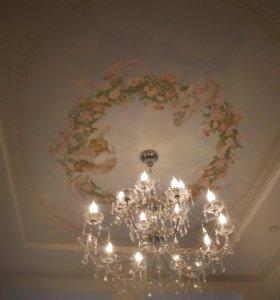 Натяжные потолки, декоративные фрески