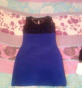 Синее платье стрейч 44р
