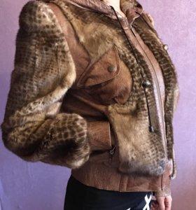 Куртка кожа норка шёлк