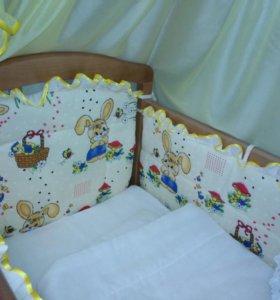 Бортики в кроватку+балдахин+держатель+КПБ