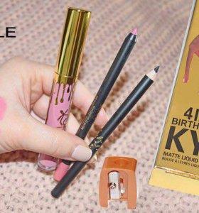 Набор kylie (матовый блеск + карандаш для губ, для