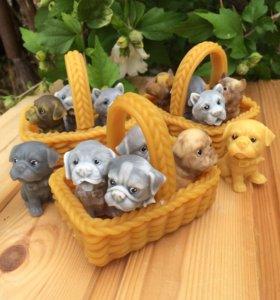 Мыло - собачки в корзинке