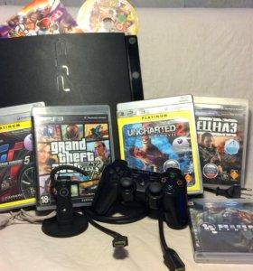 PlayStation 3 slim 160GB полная комплектация+игры