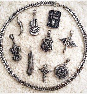 Цепи, кулоны, браслеты из ювелирной стали.