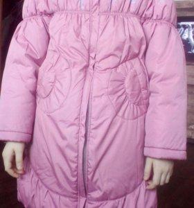 Пальто зимнее на 7-10 лет