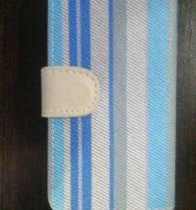 Чехол книжка на iPhone 4 4S синяя полоска