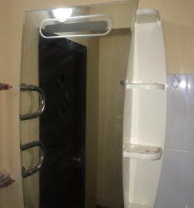 Зеркальный шкаф с подсветкой в ванную комнату