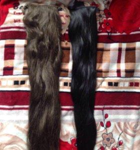 Шиньон, накладные волосы на ленте