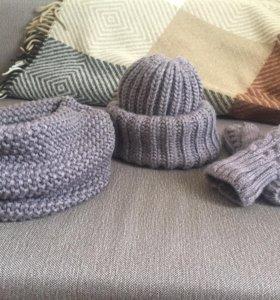 Комплект шапка Такори+снуд+варежки