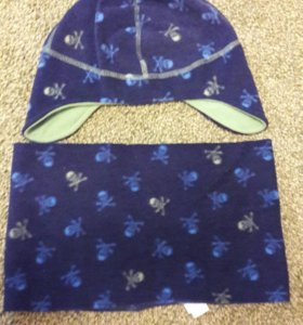 Флисовый комплект шапка+шарф.