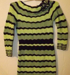 Платье из натуральной шерсти,ручная работа