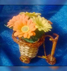 Корзина велосипед.цветы ручной работы
