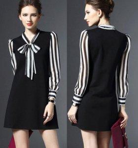 Стильное новое мини-платье с бантом. р.46-48.