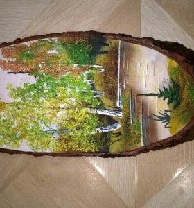 Каменная роспись на дереве