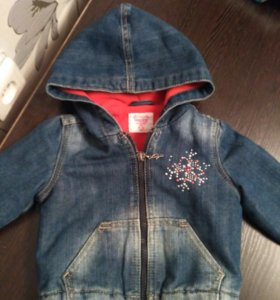 Джинсовая курточка на флисе 9-12мес.