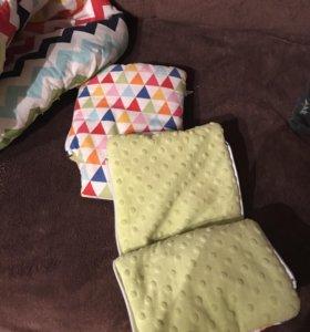 Набор в коляску( конверт и рукавички)
