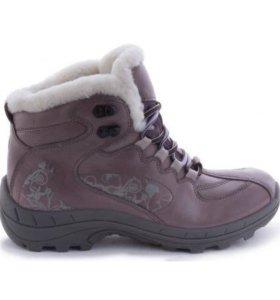 Зимние ботинки женские с мехом цвет феолетовый