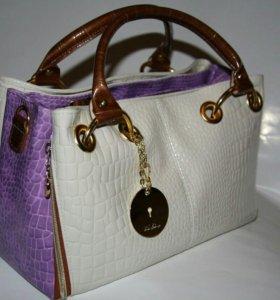 """Лаковая сумка """"Белый и фиолетовый"""""""
