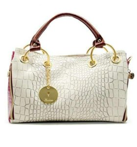 """Лаковая сумка """"Белый и Розовый"""""""