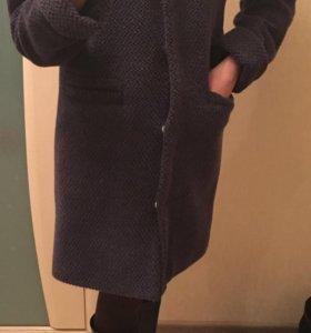 Пальто серо-синее