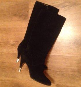 Женские сапоги, замшевые, чёрные,37 размер