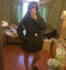 Зимнее пальто с шапкой-капюшоном