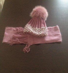 Шапка с шарфом на девочку