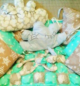 Детские одеяла бомбон, бортики в кроватку