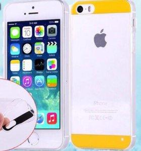 Силиконовый с полоской чехол для iPhone 5/5s Радуг