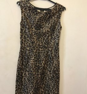 Платье леопардовое с кожаными элементами