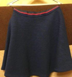 Синяя юбка в форме солнышка Pull & bear
