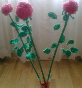 Роза, вязаная крючком
