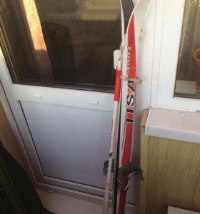 Лыжи детские 130см с палками 80 и 90 см