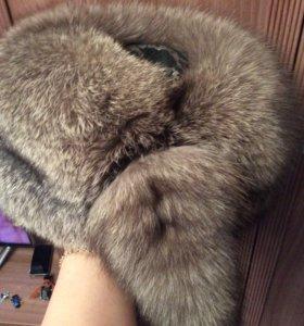 Тёплая меховая шапка из натурального песца.