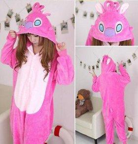 Розовый стич, кигуруми комбинезон пижама