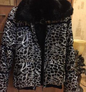 Пуховая куртка с натуральным мехом +подарок