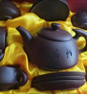 Китайский чайный глиняный сервиз ручной работы.